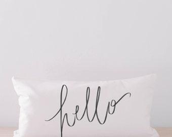 Lumbar Pillow - Hello, home decor, housewarming gift, cushion cover, throw pillow