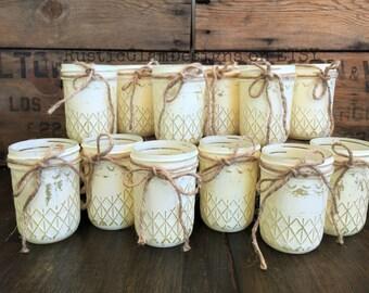 CLEARANCE!!! Mixed Set Of 12 Half Pint Quilted Mason Jars, Painted Mason Jars, Votive Holders, Flower Vases