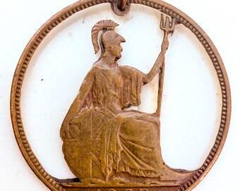 Vintage cut out Coin. Coin pendant. folk art. prison art.  pendant detailed ornate metal hobo medallion antique dudes charm