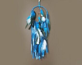 "Dreamcatcher, Dream Catcher, 24"" Bohemian Suede Leather Dreamcatcher, Blue Ombre Feather Wall Hanging, Native American Boho Dreamcatcher"