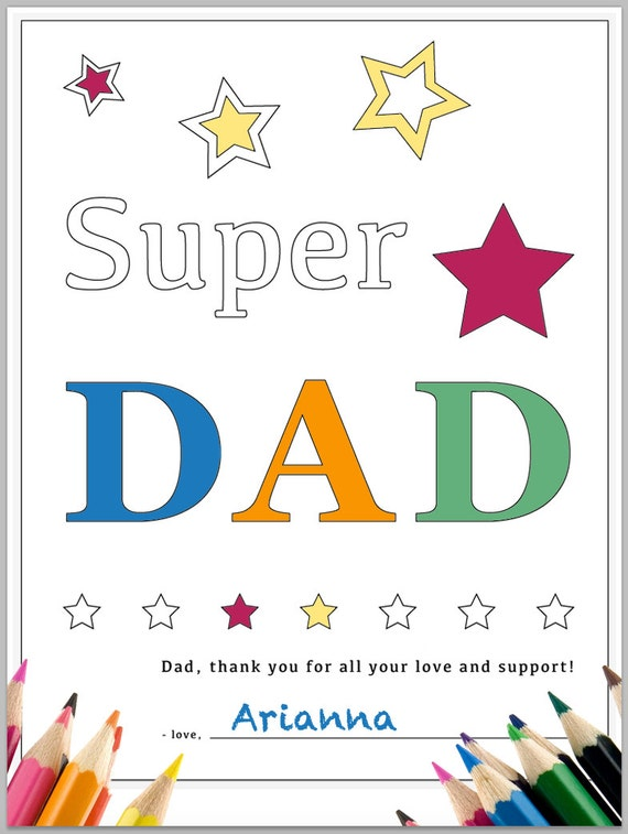 Printable Coloring Page Super Dad phrase with Stars Thank you