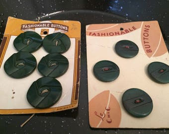 Green Lucite Buttons, Green Button Lot, Vintage Lucite Buttons, Sewing Buttons, Craft Buttons, 1950's Buttons, Green Vintage Buttons