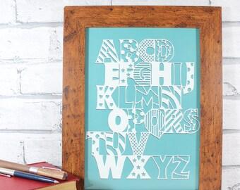 HALF PRICE!! - PRINT - Alphabet print from original papercut by QueenieDot
