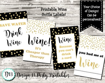 Funny Wine Labels Wine Tags Birthday Moms Night Out Printable Wine Bottle Labels Digital