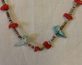 Old Pawn Heish Shell & Coral Bead Necklace with Blue Zuni Birds, Old Pawn Turquosie, Heishi Bead Necklace  (Item#40)