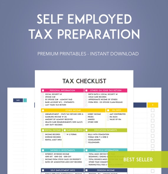Self Employed Tax Preparation Printables Instant Download – Self Employment Tax Worksheet
