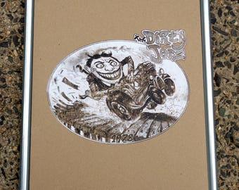 "Tillie conduit pipe framed wall ART, Absury Park NJ, boardwalk, Dirty Jerz, hot rod, Jersey shore, 13 3/4"" x 17 3/4"""