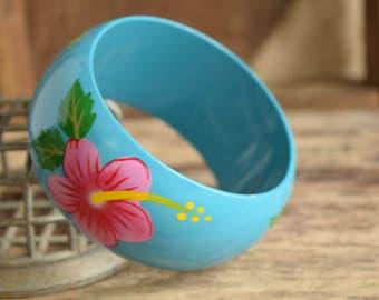 Tropical Flower Bracelet - Hibiscus Flower Bangle Bracelet - Hawaiian Flower bangle - Hawaiian Bangles - Blue bangle - Pinup bangles