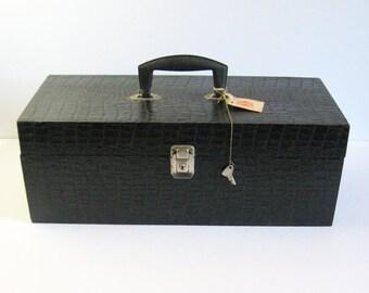 Vintage Black Carry Case with Handle w Lock And Key - Faux Crocodile 8 Track Tape Music Organizer - Locked Storage Box - Black Travel Case
