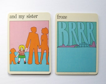 my sister froze - Vintage MOMA Art Cards - Animation Art - Young Heroine - Typography Art Pastel Home Decor Museum of Modern Art Flash Cards