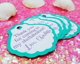 Clam Shell Thank You Tags, Sea Shell Thank You Tags, Under The Sea Thank You Tags, Shellabration, Birthday Party Favor Tags, Set of 15