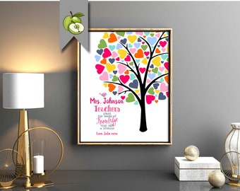 Rainbow fingerprint Teacher tree, Appreciation Gift, Fingerprint class Tree, Personalised Thank you, Tree printable, Kids fingerprints
