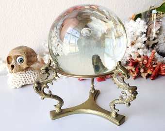 Vintage glass gazing ball with stand fortune teller crystal ball brass dragon serpent base glass orb modern statue