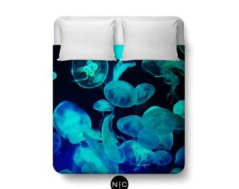 Blue Moon Jellyfish - Duvet Cover, Beach Ocean Surf Bed, Bohemian Hippie Chic Black Coastal Bed Blanket Throw. In Twin, Full, Queen & King
