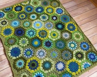 Baby Boy Crochet Blanket - MADE TO ORDER - Green and Blue Hexagon Baby Blanket - Handmade Baby Blanket - Baby Shower Gift - Baby Boy Gift