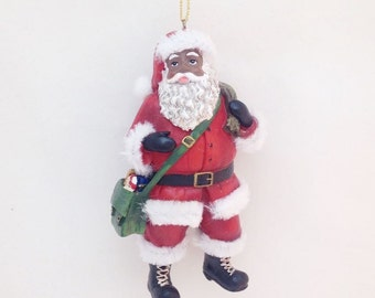 FREE SHIPPING African American Santa with Satchel and Gifts Christmas Ornament / Custom Name or Message / Christmas Gift