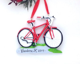 Red Bicycle Christmas Ornament / Bike Ornament / Personalized Christmas Ornament / Cycling Ornament