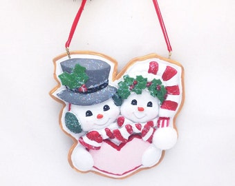 FREE SHIPPING Personalized Christmas Ornament Gingerbread Snow Couple / Our First Christmas / Engagement Ornament / Couple Ornament