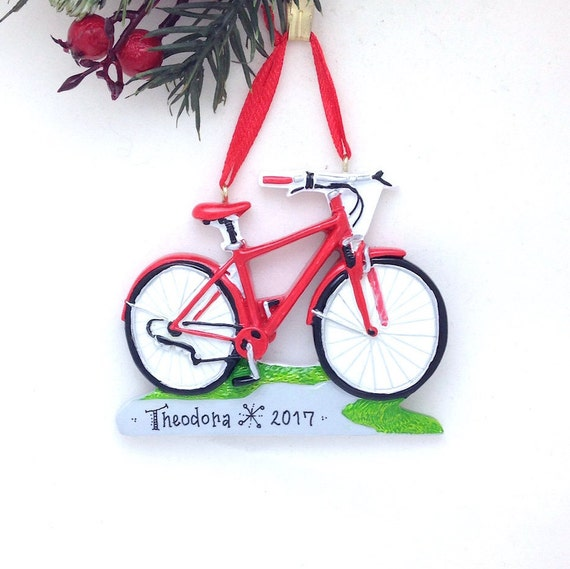 FREE SHIPPING Red Bicycle Christmas Ornament / Bike Ornament /