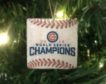 Chicago Cubs World Series Ornament (Set of 4 Designs: World Series Champions, Cubs Win, Cub Logo, #FlyTheW) 2x2 Tile Christmas Ornament
