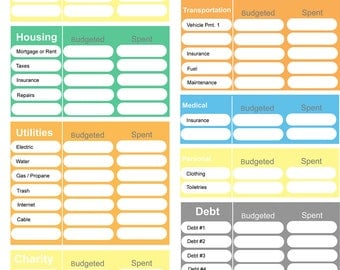Printable Budget, Home Budget Worksheet, Colorful Budget Form, 0 Budget  Form, Dave