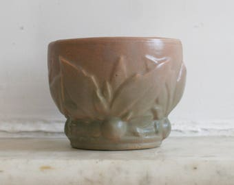 Vintage McCoy Planter, Leaves and Berries Jardiniere ,Small Pink and Green Pot, Excellent Condition