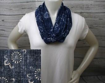 Denim Print Knit Infinity Scarf