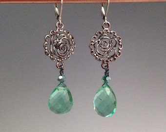 "Green Quartz Earrings ~ Green Earrings ~ Green Jewelry ~ Xmas jewelry ~ jewelry gift ~ Quartz jewelry ~ Rose charm earrings ~""Minty"""