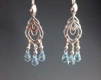 Sterling Chandelier Earrings - Cubic Zirconia Earrings - Easter Jewelry - Bridal Jewelry - Blue earrings - Blue Jewelry - CZ Jewelry -Dew