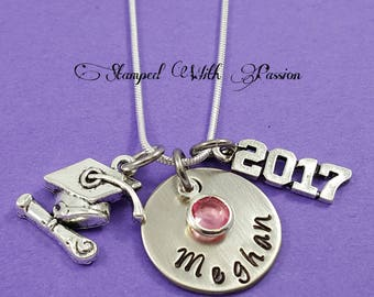 Graduation Necklace Personalized Graduation Gift 2017 Hand Stamped Graduation Jewelry Custom Unique Custom  Graduate necklace 2017