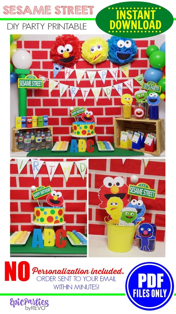Sesame Street Party Printable Instant Download Sesame Street