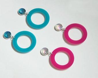Mermaid Dragon Scale Hoop Earrings Dangling Post Earrings Hoops (Hot Pink + Turquoise)