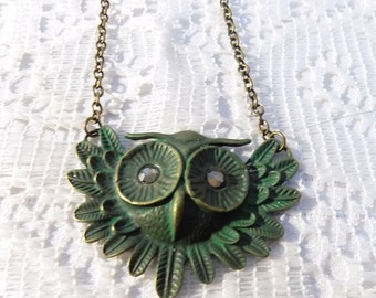 green patina owl face handmade necklace