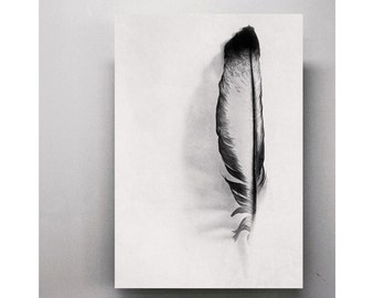 Feather photography Black and White print Shabby Chic Minimalist wall art decor Fine art photography Neutral wall art Large Living Art print