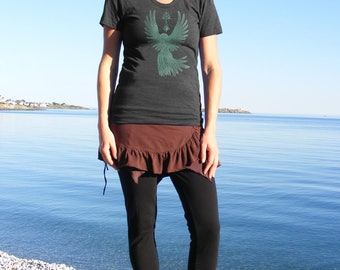Womens Spirit Shirt with Raven Wings Spread Around Sacred Symbols of Fertility and Light Goth Style on American Apparel