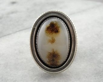 Amazing Western Plume Agate Ring with Native American Modernist Setting in Sterling Silver K17MVV-P
