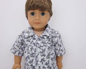 "18 inch, 18"" boy   doll clothes -  Grey camo button up shirt."