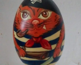Gift wooden egg with a hangover-Pirat