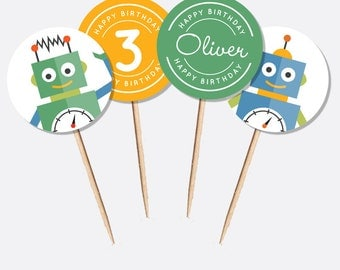 Robot Cupcake Toppers (Personalised DIY Printables)