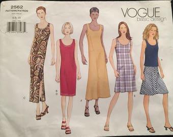 Vogue Basic Design Reversible Tank Dress Scoop Neck, Straight, Flared, Slit, Tank Top, Bias Cut A-Line Skirt Uncut Size 6-8-10 Pattern 2562