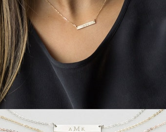 Monogram Bar Necklace - Personalized Gift for Her • Custom Hand-Stamped Name Plate Necklace Gift Idea • LN140_25_H