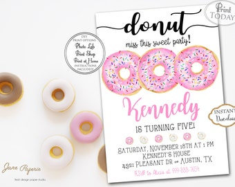 INSTANT DOWNLOAD - Donut Party Invitation - Donut Themed Birthday Party - Donuts and Pajamas - Rise and Shine Donut Time - Pink Donut 0233