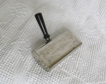 Vintage engraved silver plate table crumb sweeper ACME made in USA retro mid century decor silent butler rotating Fuller brush