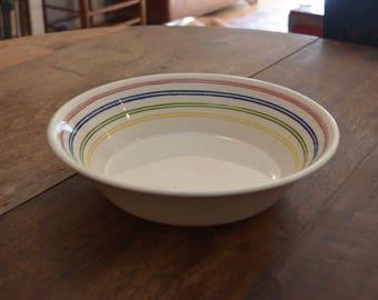Vintage 1950s Royal China Ironstone rainbow striped serving bowl salad pasta retro