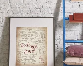Wedding Song Lyrics Custom Wedding Gift For Newlyweds Husband Wife Bride: Feels Like Home-Personalized names, date pick colors verse print
