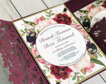 Marsala Burgundy Gold Floral Invitations