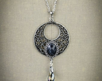 Ice of Winter - long filigree necklace - elegant sparkling cameo