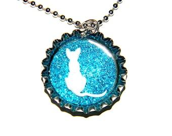 NEW White Cat Glitter - Bottle Cap Necklace
