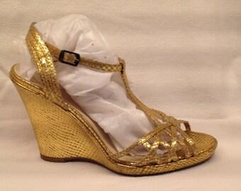Via Spiga Gold Sandals Platform Wedge Size 7.5
