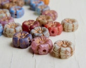 Vintage Garden Tiny Blooms  - 8mm matte colour mix czech flower beads with old gold Picasso finish (10), czech glass beads uk beads